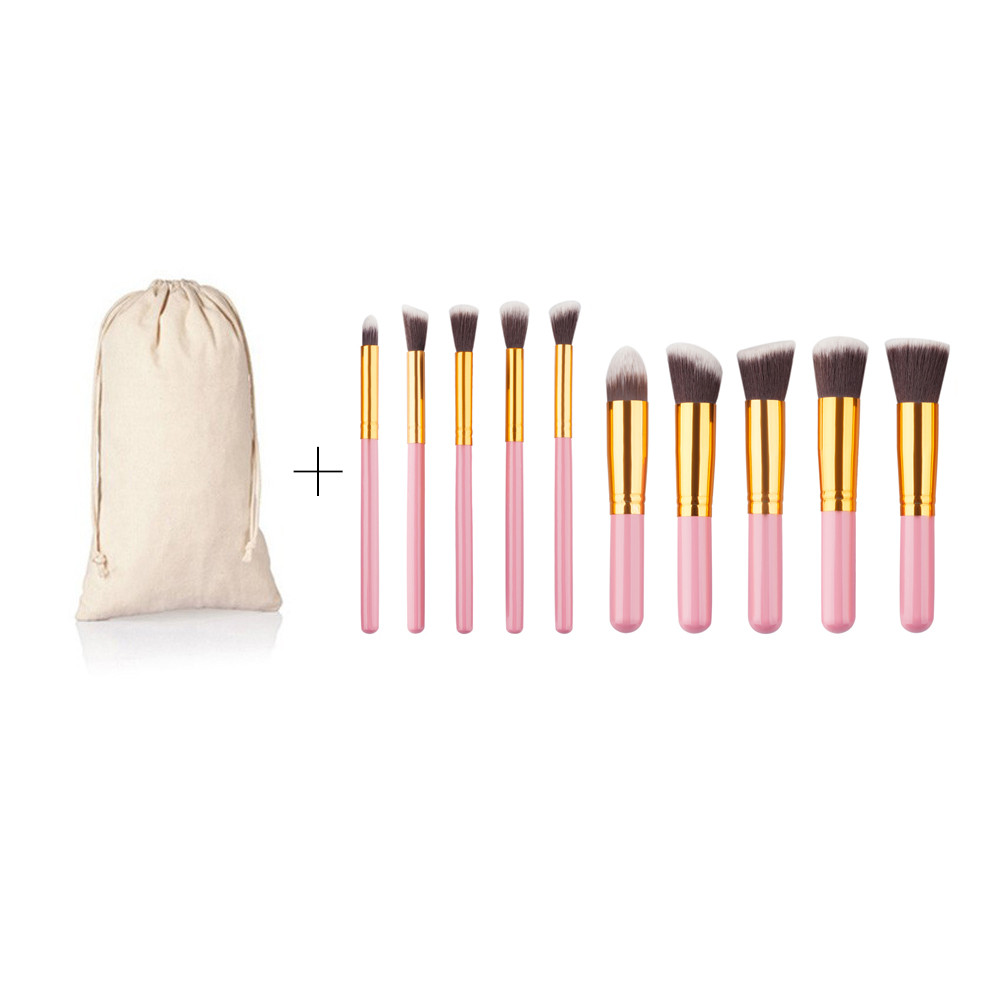 2017 Professional 10 pcs Brand Makeup Brush Pincel Maquiagem Cosmetic Make Up brushes Set With Case Bag Kit 3 Colors MY163 professional cosmetics makeup brush set 12pcs brushes cosmetic kit leather bag pouch brand make up tool