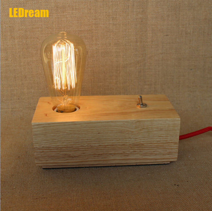 Real wood desk lamp that occupy the home Edison retro nostalgia desk lamp bulb individuality creative classic fashion bag mail 1pc used 140plc empty slot occupy 140xcp51000