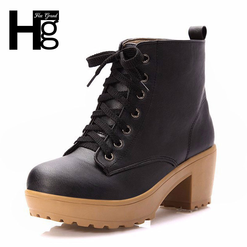 HEE GRAND 2017 Women Boots Autumn Winter Platforms High Square Heel Boots Fashion Ankle Solid Woman Shoes Four Colors XWX447