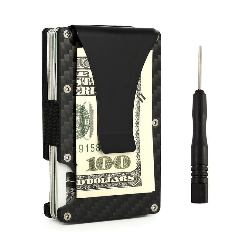 Vallet Carbon Fiber Men Mini Wallet RFID Metal Slim Man Aluminum Wallet Business Credit  ...