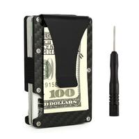 Männer RFID Geldbörse Carbon Metall Geldscheinklammer Geschäfts Kredit karte Fall ID Halter Schlanken Frauen Brieftasche Aluminium Geldbörse Handliche Vallet