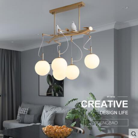 Delightful Nodern Minimalist Restaurant Lights Bird Garden Glass Dining Table  Rectangular Dining Hall Lamp