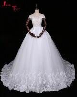 Jark Tozr Vestidos De Noiva Boat Neck Beading Appliques Bridal Dress White Gorgeous Ball Gown Wedding