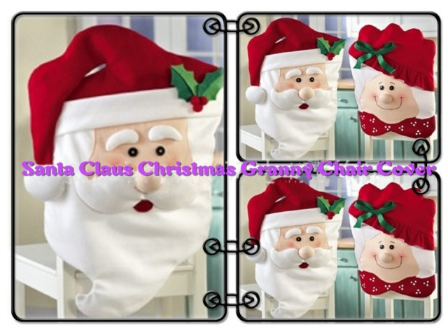 Free Shipping 2 Pcs Lot Christmas Chair Covers Home Textile Santa Claus Granny Seat