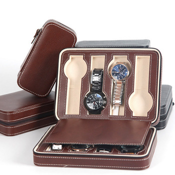 Fashion Quality 8 Grids Leather Watch Box Luxury Zipper style for travelling storage Jewelry Watch Collector Cases Organizer Box top leather watch box fashion pu black brand watch gift box hot sale watch storage boxes for men s luxury watch w025