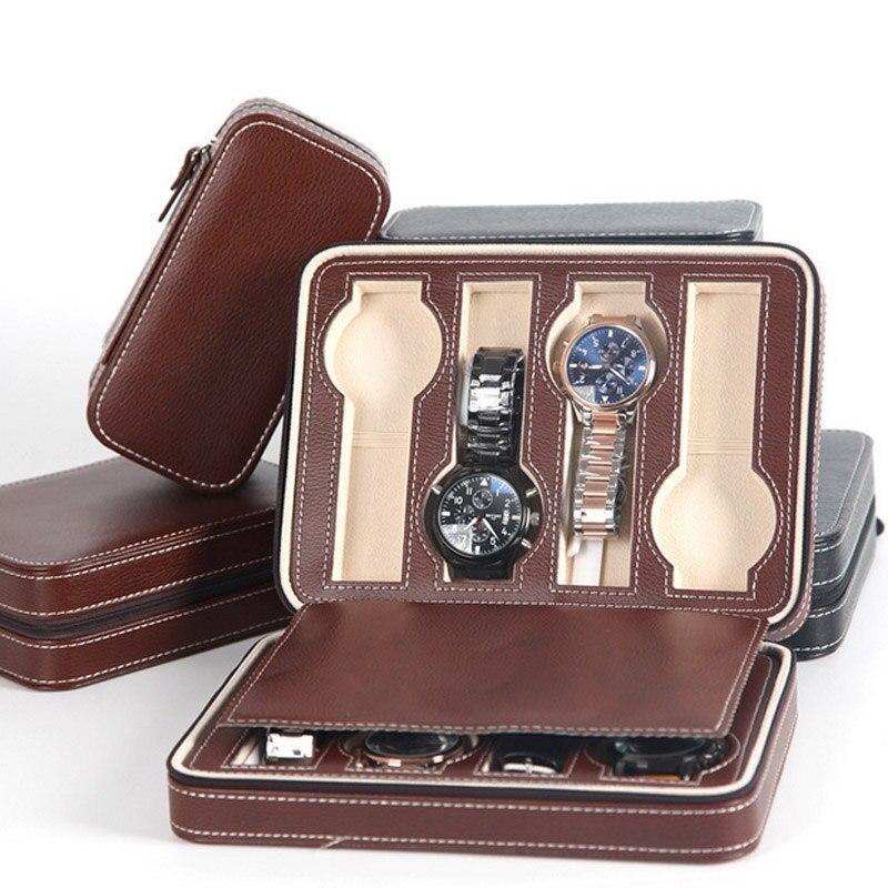 Mode qualité 8 grilles en cuir montre boîte de luxe Zipper style pour voyager stockage bijoux montre collecteur cas boîte organisateur