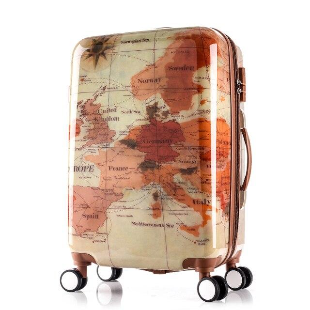 Paul vintage box 20 24 28trolley luggage travel bag luggage universal wheels luggage,high quality abs world map retro luggage