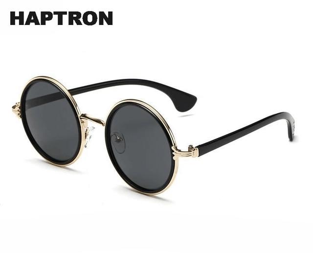 Gafas de sol redondas Retro HAPTRON de diseñador de marca Vintage gótico gafas de sol de aleación espejo negro Rosa gafas de sol Oculus de sol