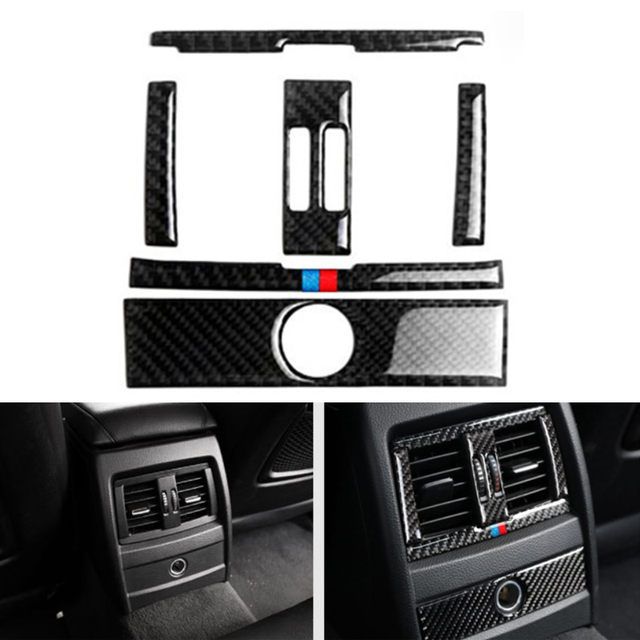 For BMW 3 Series GT F30 F34 2013 2014 2015 Car Center Control Air Condition Air Vent Outlet Frame Carbon Fiber Cover Sticker