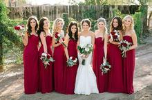 New Arrival 2016 Red Chiffon Long Bridesmaid Dresses A Line With Ruffles Wedding Party Dress Cheap