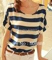 2016 Mujeres de La Manera Señora Camisetas de La Gasa Suelta de manga Corta de Ocio Lindo Blanco franja Azul Marino Superior Impresa de las mujeres camisas camisetas