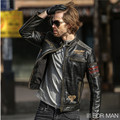 2017 New Men Black Stand Collar Slim Fit Motorcycle Leather Jacket Genuine Cowhide Short Men Winter Biker Coat FREE SHIPPING