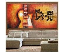 Hot Moderne Decoratie Rode Gitaar Muziek Olieverf Abstract Bloem Thuis muur Op Canvas 1 Stuk Set Foto Voor Woonkamer