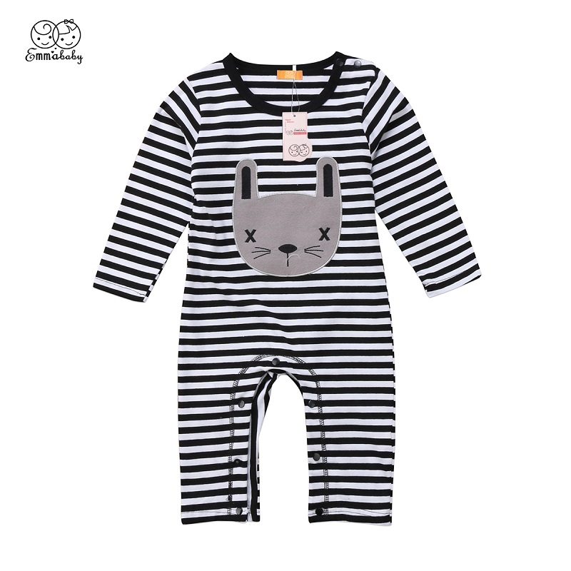 Emmababy Autumn Toddler Infant Cotton Clothes Boys Girl Striped Shy cat Print Long Sleeve Romper Jumpsuit Kids Outfit 0-24M