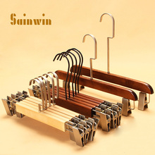 Sainwin 5pcs/lot adult child vintage hanger wood pants clip  wooden hangers for clothes rack (30pcs can LOGO)
