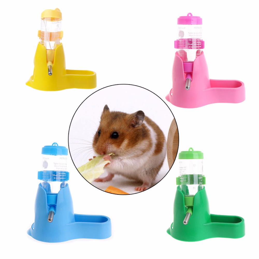New 80ml/125ml 3 in 1 Pet Hamster Water Bottle With Food Container Drinking Feeding Rest for Small Animals Supplies 4-Color C42