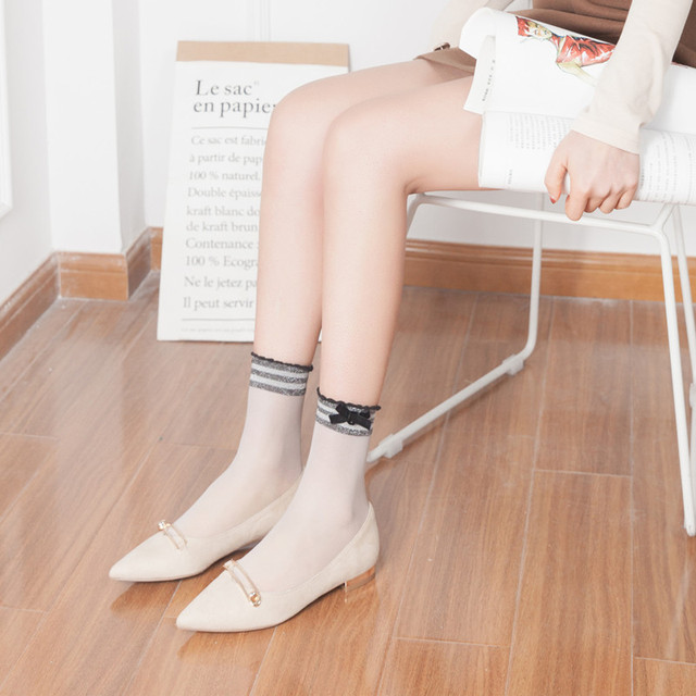 RVYVON Fashion Summer Casual Glitter Bowknot Women Japanese Style Socks Soft Comfy Sheer Cotton Elastic Sexy Street Velvet Socks 2