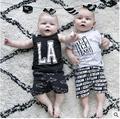 Детская летняя новый мальчик одежды комплект письмо дети для новорожденных девочек комплект одежды 2 шт. майка + брюки