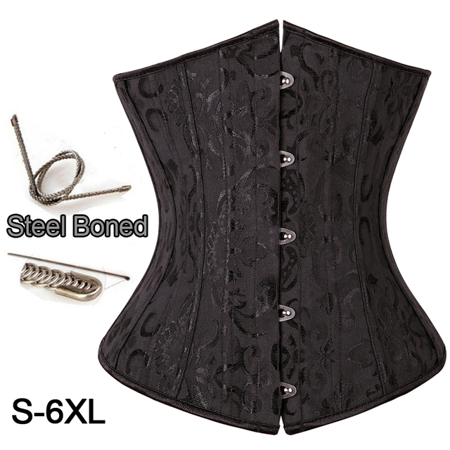body Shaper Woman Sexy Waist Trainer underbust Corsets & Bustiers Black Satin 28 Steel Bone corset Waist Cincher Corselet