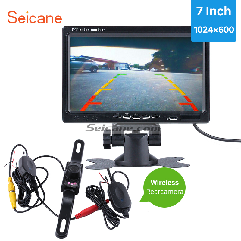 Seicane Car Monitor DVR TFT LCD Display AV Universal 7 Reverse Backup Camera Video Recoder with free Wireless Rearview Camera