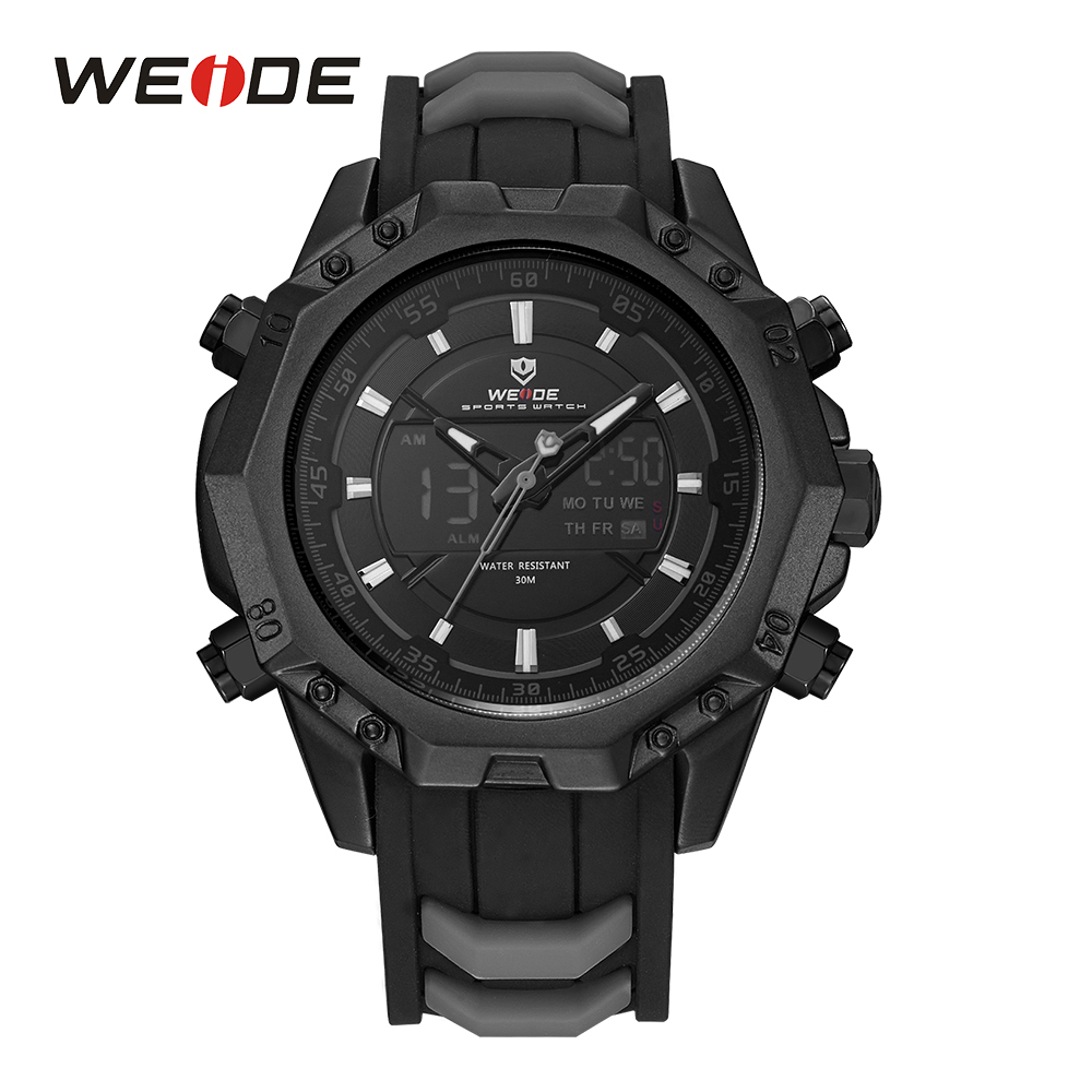 WEIDE Men Sport Watches Analog Quartz Movement Digital Display Day Back Light Alarm Black Silicone Strap Buckle Date Wristwatch weide casual genuin brand watch men sport back light quartz digital move t silicone waterproof wristwatch multiple time zone