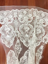 1 Yard Luxury exquisite embroidery lace fabric with clear sequin , 3D tiny pearl beaded vintage style bridal