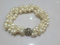 Natural Freshwater Pearl Bracelet Twist Multilayer With Magnet Clasp Real Pearls Free Shipping Dancing Pearls Bracelet