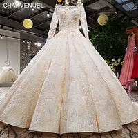 LS21457 big puffy skirt ball gown champagne color long sleeves trouwen off white can be made real dress show wedding dress 2018