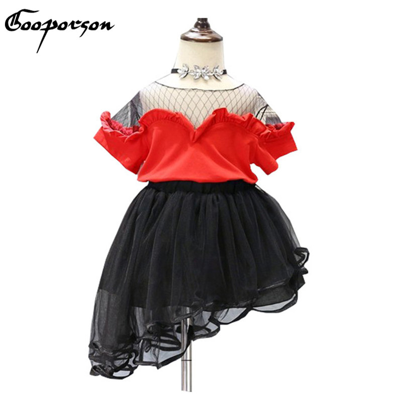 2017 New Fashion Baby Girl 2 Pcs Clothes Set Red Net Shirt With Irregular Black Skirt 2 Pcs Children Clothing Set Summer Outfits new fashion suspender with sleeveless shirt suit for girl