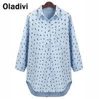 XXXXXL Plus Size Fat Women Clothing 2014 European And American Casual Loose Shirt Printed Floral Blouse