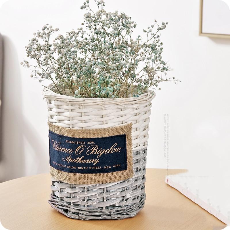 US $13.99 50% OFF|Creative storage basket hand woven dry flower basket  bedroom living room home decoration sundries laundry storage basket  66816-in ...