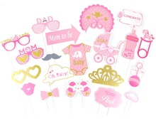 20pcs/Set Pink/Blue Baby Girl /Boy Shower Photobooth Props Party Pink Birthday Photograph Articles