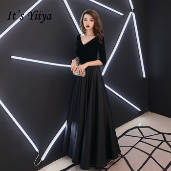 It's YiiYa Evening Dress Black V-neck A line Simple Formal Dresses Short Sleeve Backless Party Gown For Women E056