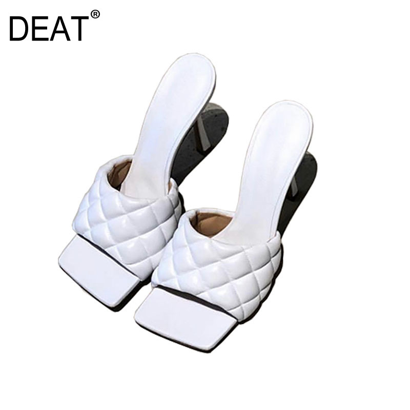 High-Heels Slippers Women DEAT Fashion Summer Square Outside New Toe Spring Thin Shallow