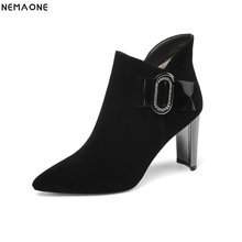 NemaoNe Pointed Toe Women Boots High Heels Basic Shoes Winter Ankle Boots For Women Autumn Casual Female Boots Fashion Shoes