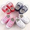 Lona Sapatos de Bebê Recém-nascido Da Menina do Menino Marca Solas Macias Não-slip Estrela Lace-Up Shoes Primeiro Walkers Criança Berço sapatos Sapatilhas Do Bebê