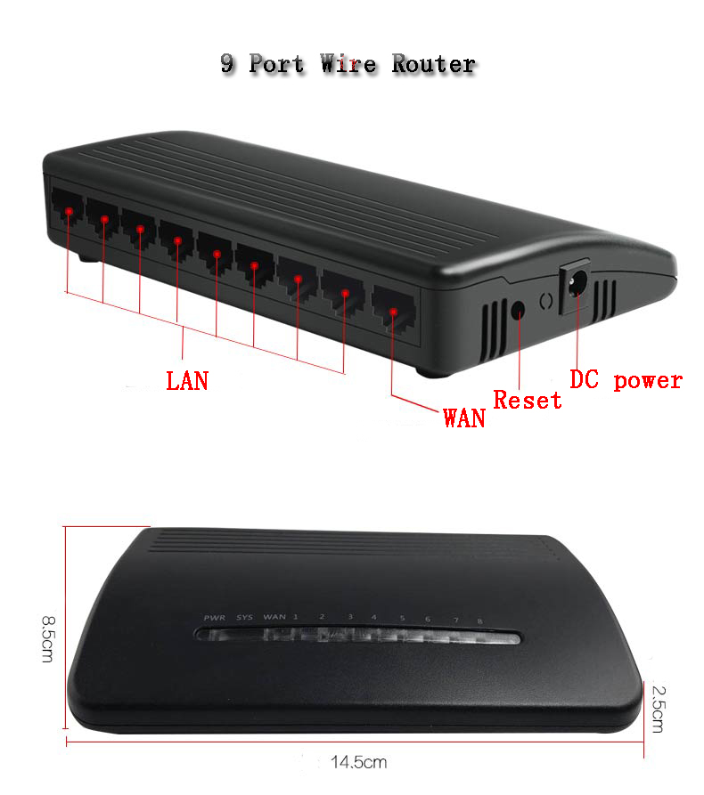 cheap price SOHO wired plastic box DHCP PPPOE ethernet 9-port wire ...