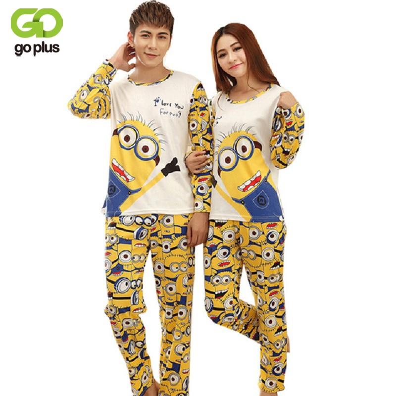 GOPLUS 2017 Autumn Long-sleeve Cartoon Lovers Home Clothing Couples Matching Pajamas Adult Minion Pajamas Sets Lovers sleepwear