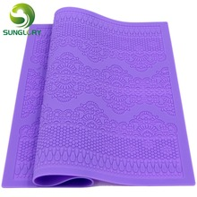 1PC New Arrivals Silicone Mat Fondant Cake Decorating Styling Tools Kitchen Lace Mold Flower Pattern Color Purple