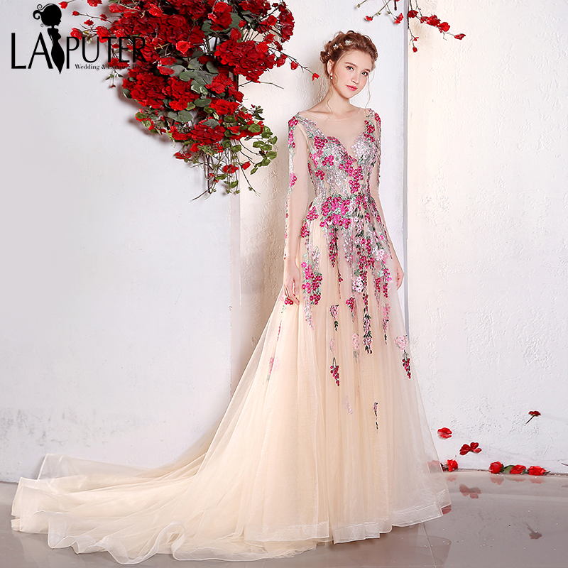 Romantic 2017 Real Photo Colorful French RU Embroidery Lace Flowers Appliques A-line Tulle Long Sleeves Pink Prom Evening Dress
