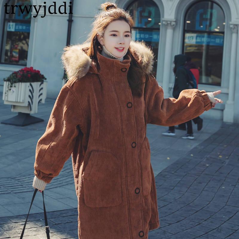 Femmes Longue Col Lâche Section 2018 Doublure Nouvelle Caramel pink En Coton Manteau Manteaux Côtelé Agneau Cheveux Épais Fourrure Velours Vestes N39 De D'hiver Grand coréen C4AaCq