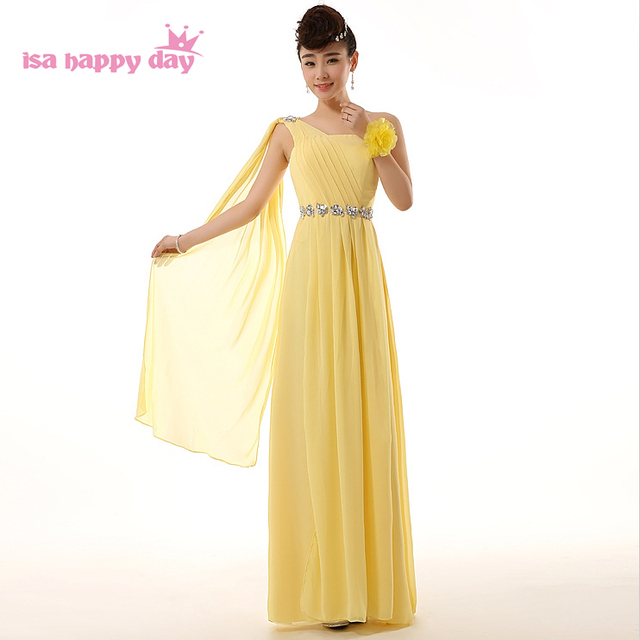 elegant gowns dress ladie chiffon women country formal yellow red greek one  shoulder plus size long fitted prom dresses H2694 dc0b65332b