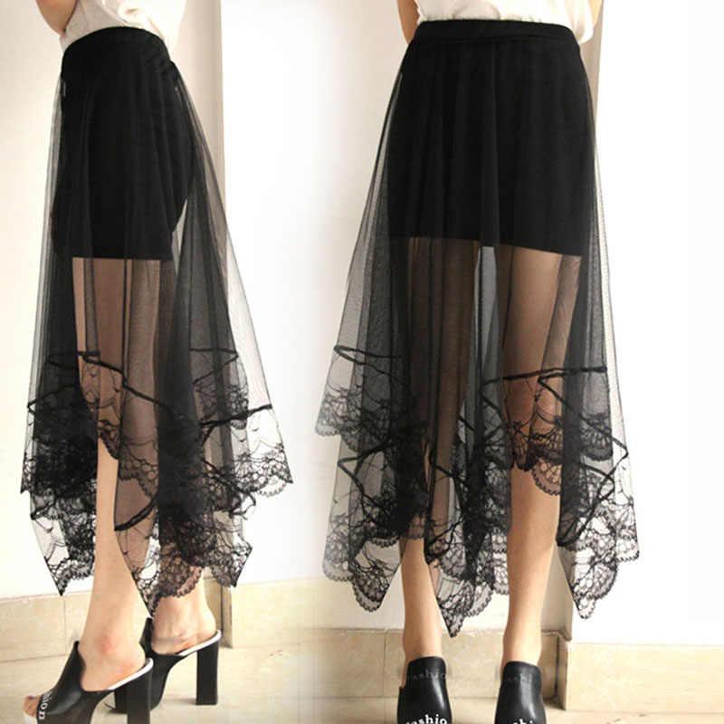 Moda damska na co dzień linia wysokiej talii spódnice Midi lato kobiet koronki przędza jedwabiu duża huśtawka spódnice elegancki Slim Fit długie spódnice