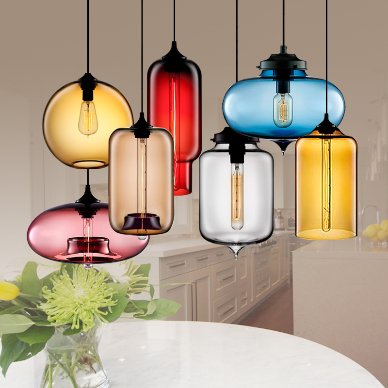 Colored Glass Pendant Lamps Nordic Pendant Light Bar Aisle Corridor Staircase Hanging Lamp Restaurant Personality Pendant Lamps цена