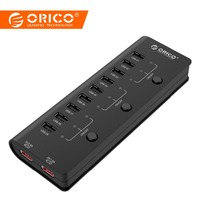 ORICO HF9US 2P BK 9 Ports USB2.0 HUB with 2 ports charging 3 power switch for Tablet Cellphone with CE/FCC/3C/ROHS