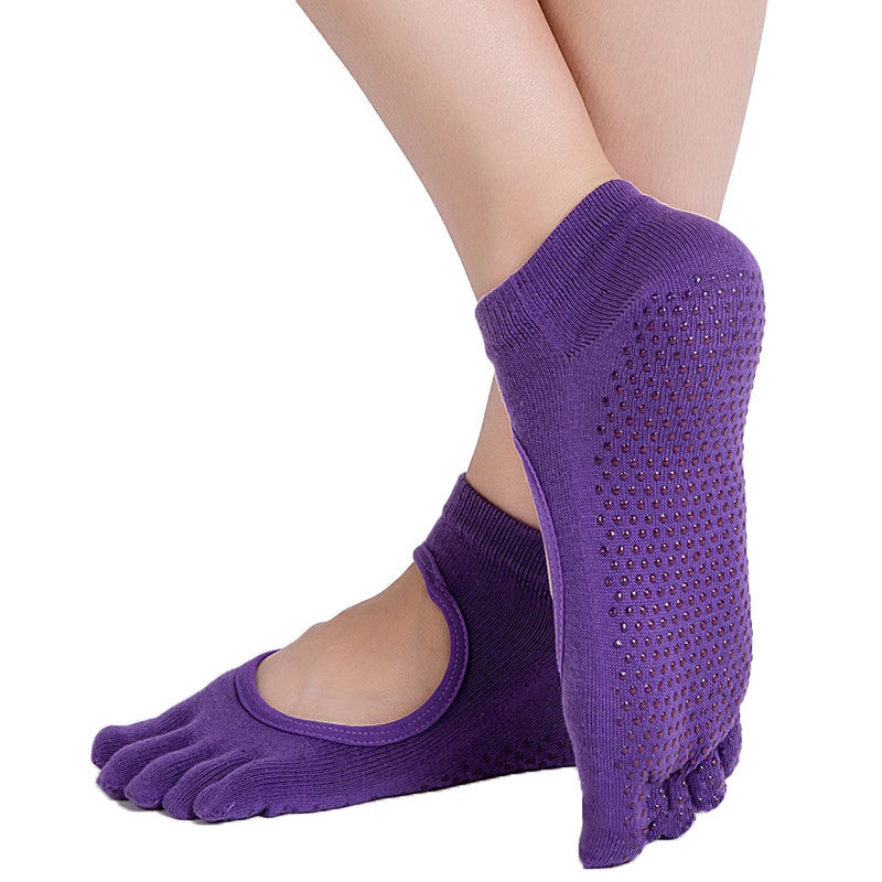 Hotsale 5 Finger Toe Backless Summer Women Sport Socks Solid Color Nonslip Silicone Ankle Socks For Yoga And Pilates 6 Colors