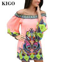 KIGO Women One Shoulder Dress Summer Vestido Vintage Bohemian Dress Beach Sexy Tribal Print Dress Casual