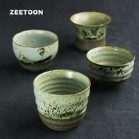 120ml Japanese style vintage Coarse Pottery Kung Fu Tea set Tea Cup Master cup bowl Handmade Ceramic Four Season Creative Teacup