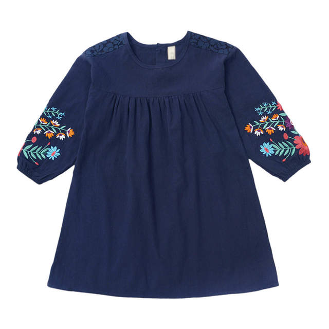 Girls cute embroidered long sleeves dress 2019 autumn new large children s  cotton lantern sleeve doll dresses 3d5b06f53
