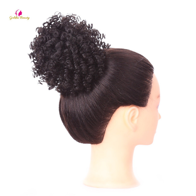 Golden Beauty 3 Inch Womens Curly Chignon With Rubber Band